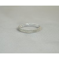 Thin Silver Spiral Stackable Ring