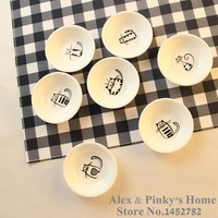 1pc Japanese Dishes Saucer Snack Tray Fruit Tray Cartoon Plates Serving Tray