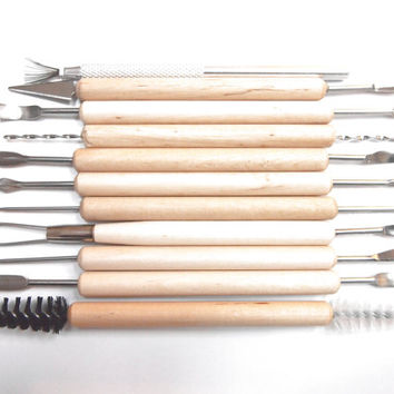 11 pcs Pottery Clay Sculpture Wax Carving Ceramics Tool Kit