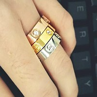 """Cute couple rings women ring """"Cartier"""" rhinestone ring on simplicity I"""
