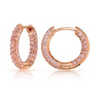 Bling Jewelry Coming Up Rose Hoops