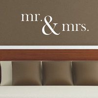 Mr & Mrs Wall Decal - Vinyl Lettering Mr. and Mrs. - Vinyl Wall Decal - Personalized Home Decor - Bedroom Decor - Wedding Registry