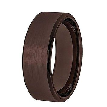 Beveled Men's All Brown Tungsten Wedding Band With Brushed Center - 8 mm