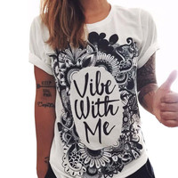 Spring Summer Black And White Letters Printed T-Shirts For Women 2016 Harajuku Casual Female T-Shirt Street Wlid Loose Top