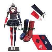 Top Grade Batman The Dark Knight Arkham Asylu Suicide Squad Harley Quinn Cosplay Costume Customized with Boots