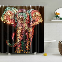 Novel Elephant Printing Shower Curtain Waterproof Mildewproof Polyester Fabric Bath Curtains Bathroom Product With 12 Hooks Gift