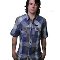Dissizit Squad S/S Gingham Button Up Blue & Grey Shirt Guys T-Shirts