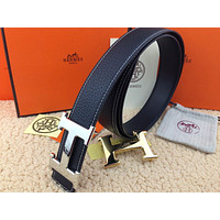 @HERMES Reversible double H Gold/Silver Buckle black Men's Belt 38mm /110cm**