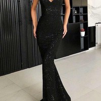 Evening Dress Mermaid Spaghetti Straps Glitter Prom Dresses