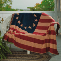 Vintage Cotton Woven Throw Old Glory