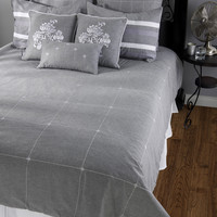 Paris Gray Queen Size Duvet with Poly Insert Bed Set