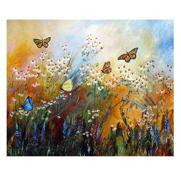 Chamomile Garden and Butterflies Mural Size ORIGINAL Painting by Ginette Unstretched 64 x 77 Inches
