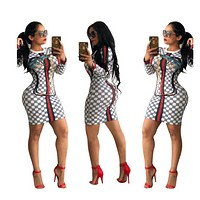 Printed Long Sleeve Nightclub Sexy Dress  White