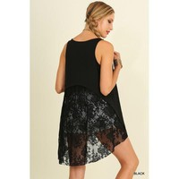 Lace Detailed High Low Tunic