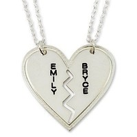 Necklace Forever Best Friends BFF Couple's Breakable Heart Pendant -Any Two Names Two Chains
