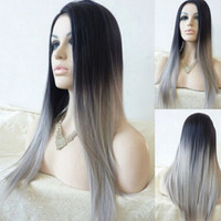~Straight Gray Synthetic Wig Ombre Tone Color Black And Grey Fiber**grace Mother party women bride cosplay Alternative Measures