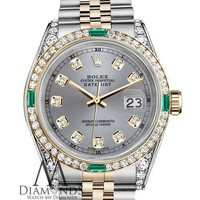 Ladies Rolex 2 Tone 31mm Datejust Watch Grey Emerald Diamond Dial with a Track