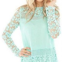 Lovaru Women's New Arrival Vintage-Inspired Crochet Lace Shirt