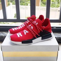 Sale Pharrell Williams x Adidas Consortium NMD Human Race Red Sport Running Shoes Classic Casual Shoes Sneakers