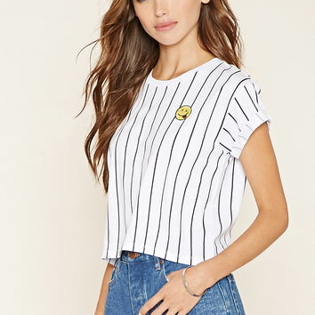 Striped Happy Face Tee | Forever 21 - 2000205202