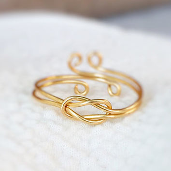 Reversible Gold Love Knot Ring,infinity ring,double knot ring,adjustable ring,infinite love ring,wire wrap ring,dual knot ring,delicate,gift
