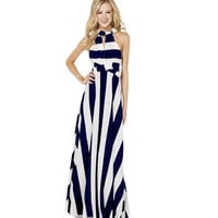 Sizzling Sequine Women's Navy Wind Nautical Stripes Maxi Long Dress One Piece Dress Beach Dress Pary Dress Wedding Gowns (Color: Dark blue) = 1958189892