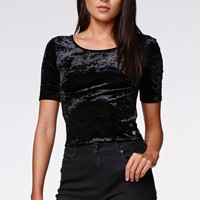 Kendall & Kylie Lace Up Back Top - Womens Tee - Black