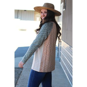 Cozy Cabin Brushed Sweater {Olive Mix}