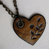 Golden Yellow Tooled Flower Heart Detachable and by karenkell