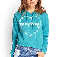 FOREVER 21 No Thank You Hoodie Teal/Cream