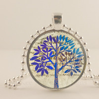 Purple and blue Tree glass and metal Pendant necklace Jewelry.