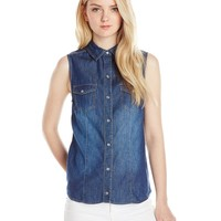 YMI Juniors' Sleeveless Chambray Button-Front Shirt