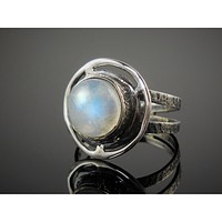 Moonstone Sterling Silver Ring - Size 8