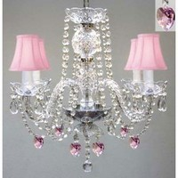 """CHANDELIER LIGHTING W/ CRYSTAL PINK SHADES & HEARTS! H 17"""" - PERFECT FOR KID'S AND GIRLS BEDROOM! W 17"""":Amazon:Home Improvement"""