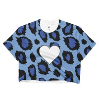 Blue Cheetah Heart Crop Top