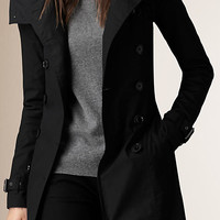 Hooded Trench Coat with Warmer