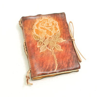 Rose pocket size leather journal by GILDBookbinders on Etsy