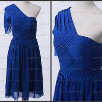 A-line One-shoulder Knee-length Chiffon Pleat Blue Short  Bridesmaid Dress Prom Dress Formal Evening Dress Party Dress Cocktail Dress 2013