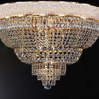 "French Empire Crystal Flush Chandelier Lighting H22"" W30"" - G93-Flush/448/21"