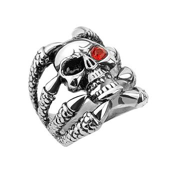 Dragonskull - Skull with red cubic zirconia eye dragon claw stainless steel men's ring