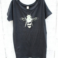 Women T-shirt - Honey Bee - Earth Friendly - Grey Alternative Apparel - Organic shirt - Small, Medium, Large, XL- Clothing - Bug