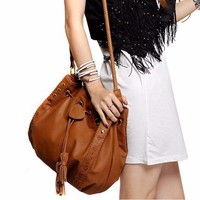 Brown Bucket Shape Women Shoulder Bag