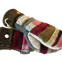 Wool Sweater Patchwork Mittens by SWEATY MITTS Recycled Designer Women's Handmade in Wisconsin Pink Green Blue Gray Stripes Hippie Boho Gift