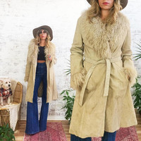 Vintage 1970's PENNY LANE Suede And Mongolian Collared Princess Coat Jacket || Tan Brown Long Fitted Wrap Jacket Coat || Size Medium