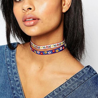 Fashion folk style thorn embroidered collar necklace XR
