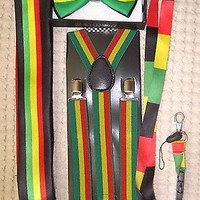 Rasta Stripes Bow Tie,Rasta NeckTie,Rasta Stripes Suspenders&Rasta Lanyard-NEW10