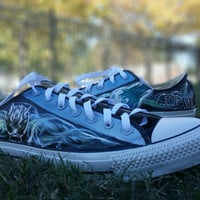 Final Fantasy VII Hand Painted Canvas Lace Up Shoes