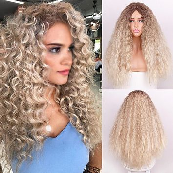 New style gold dyed small curly wig headgear fluffy afro ladies wig