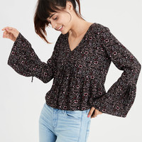 AE Long Sleeve V-Neck Blouse, Black