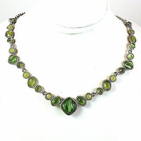 Green Riviera Necklace Vintage 18in Silver Tone Princess Length n373